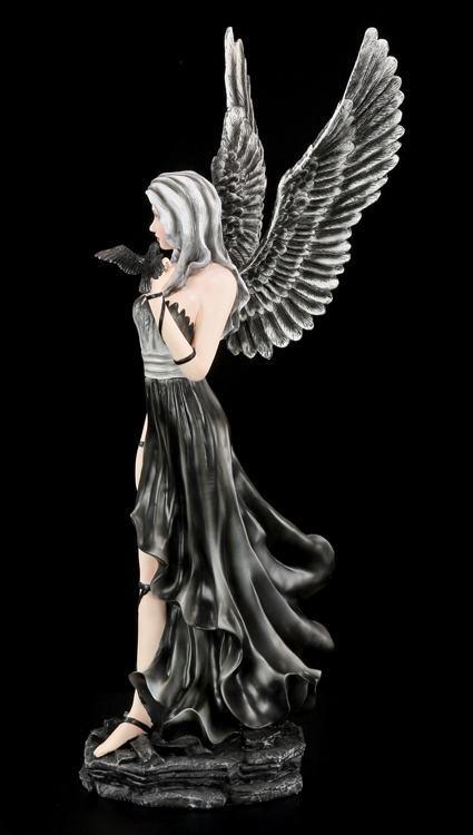 schwarze engel figur gro nevermore gothic rabe kr he fantasy dark angel ebay. Black Bedroom Furniture Sets. Home Design Ideas