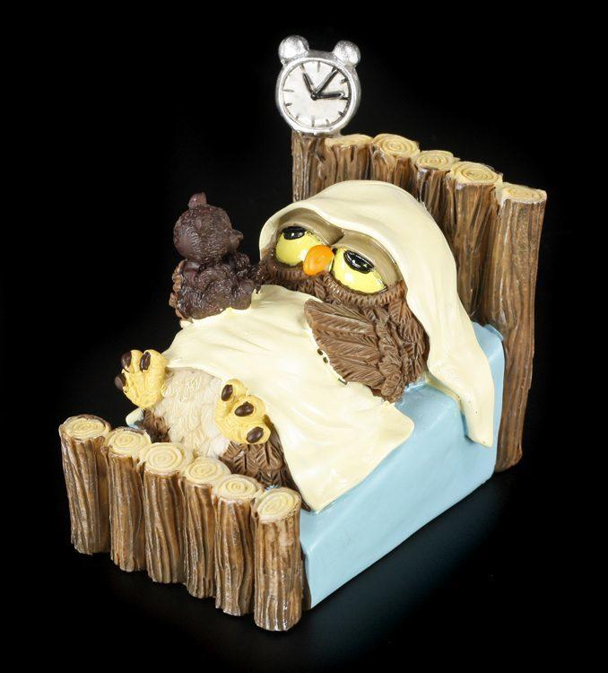 gute nacht lustige eulen figur bett schlafen geschenk. Black Bedroom Furniture Sets. Home Design Ideas