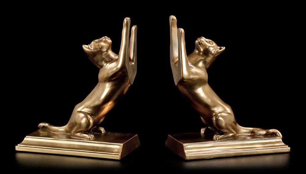 buchst tzen katzen figuren bronze optik deko ebay. Black Bedroom Furniture Sets. Home Design Ideas