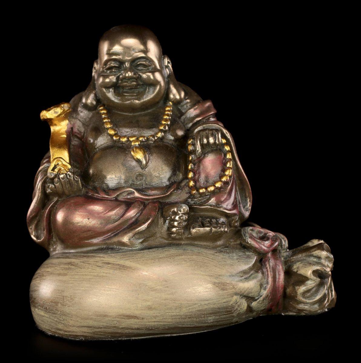 Happy buddha figure sitting gold bag statue buddha for Figur buddha