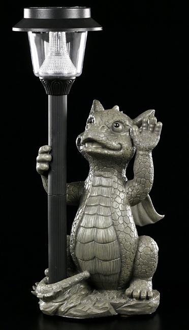 figurine de jardin dragon avec lampe solaire deco statue ebay. Black Bedroom Furniture Sets. Home Design Ideas