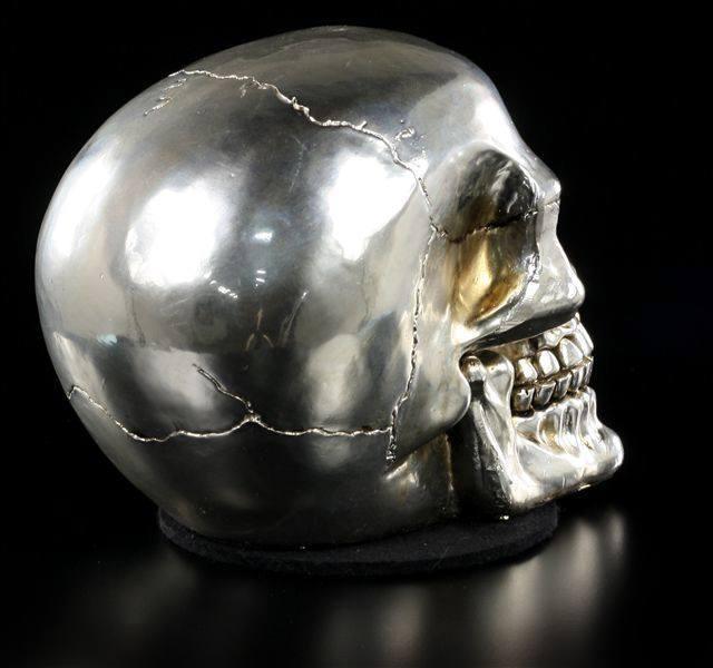 Gothic Totenschädel Deko Figur Skull glänzend poliert Totenkopf silberfarben