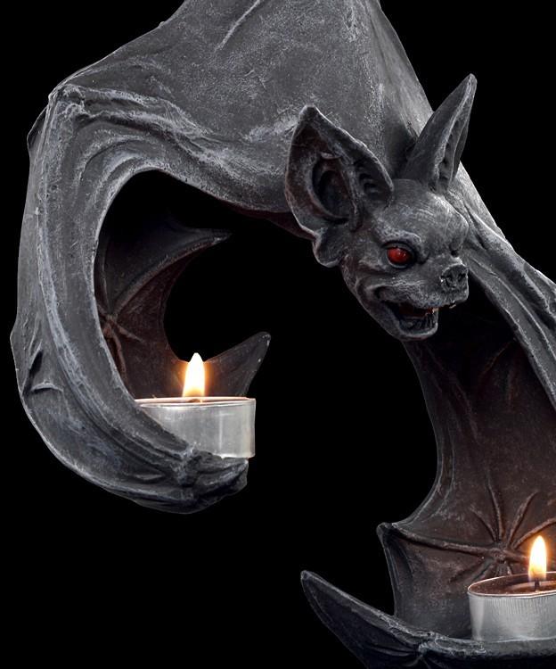 Bat Wall Tea Light Holder Fantasy Gothic Wall Deco