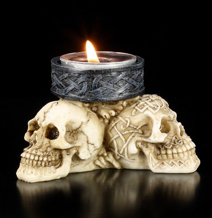 drei totenk pfe teelichthalter deko figur skull gothic hallbergmoos. Black Bedroom Furniture Sets. Home Design Ideas