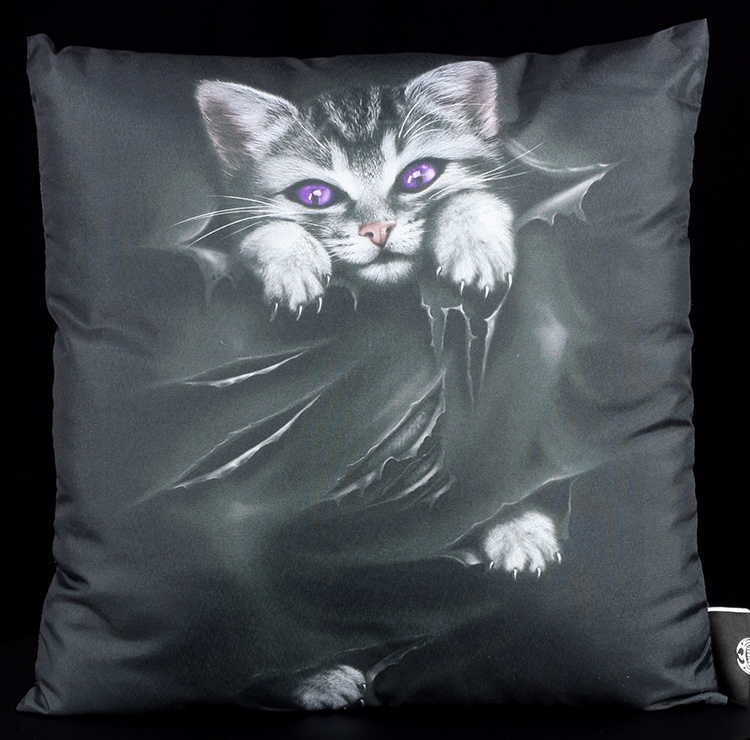 spiral gothic kissen mit katze bright eyes fantasy gothic dekokissen kitten ebay. Black Bedroom Furniture Sets. Home Design Ideas