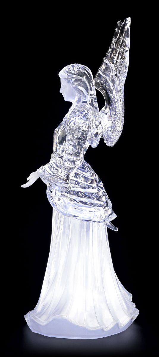gro e acrylglas engel figur led felina mit offenen armen elfe klar deko eis ebay. Black Bedroom Furniture Sets. Home Design Ideas