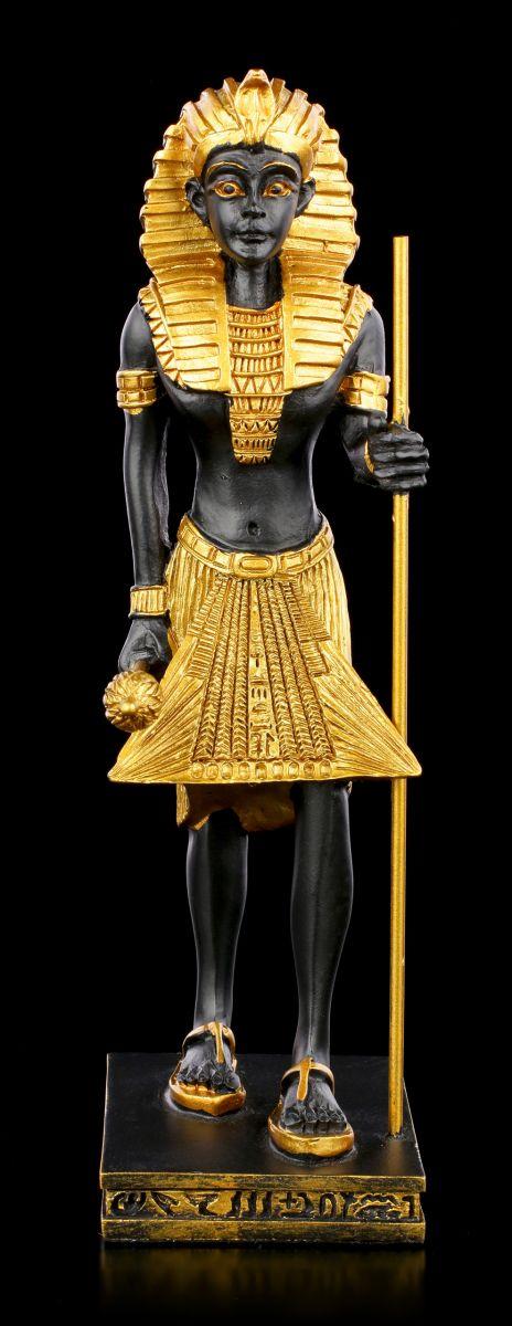 Toutankhamon avec Tige et Sceptre Égypte Pharaon Roi Déco Égyptien Figurine