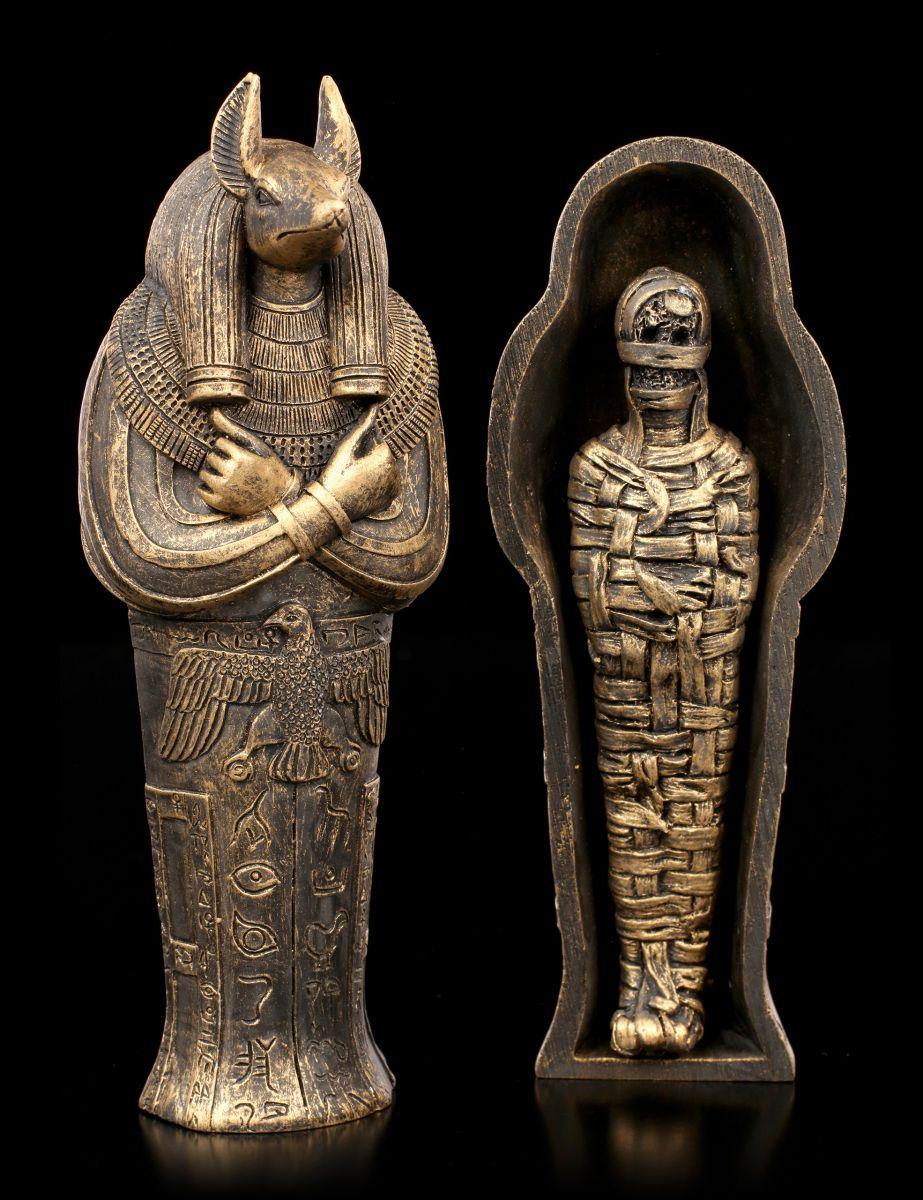 Anubis Sarkophag Mit Mumie Agypten Gotter Deko Statue Ebay