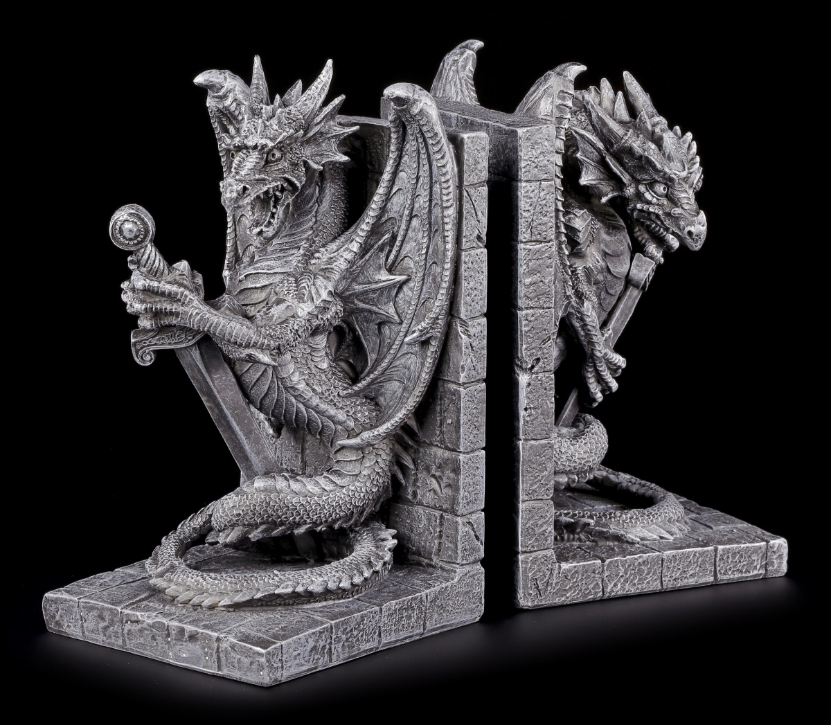 Dragon bookends set wisse poor figures fantasy gothic deco - Dragon bookends ...