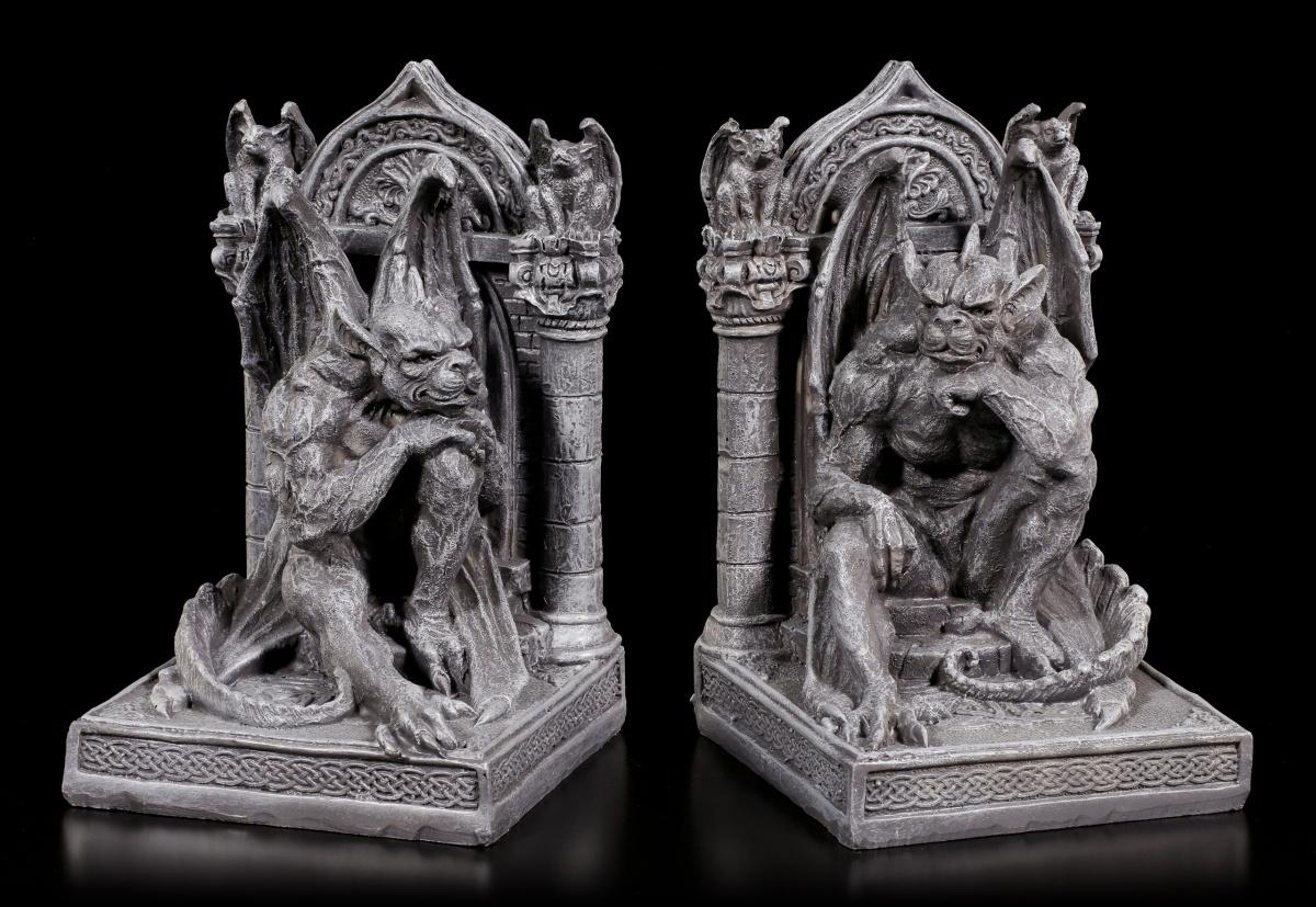 Details Sur Support Livre Set Assis Gargouilles Fantasy Gothique Dragon Etagere Deco