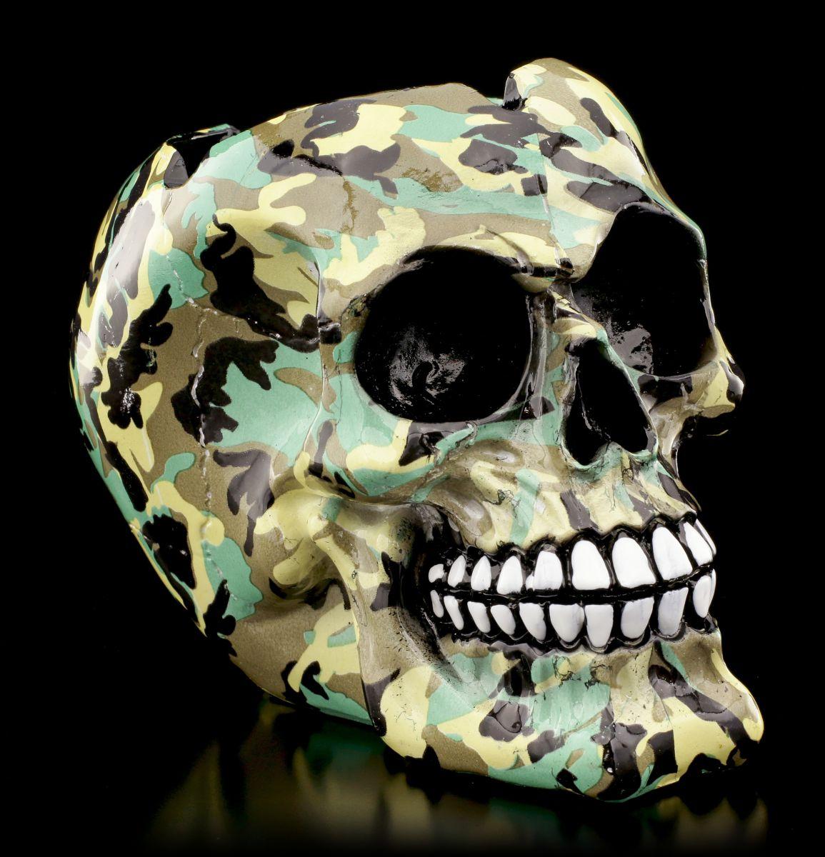 Bunter Totenkopf Aschenbecher Camouflage Gothic Schädel Ascher Deko