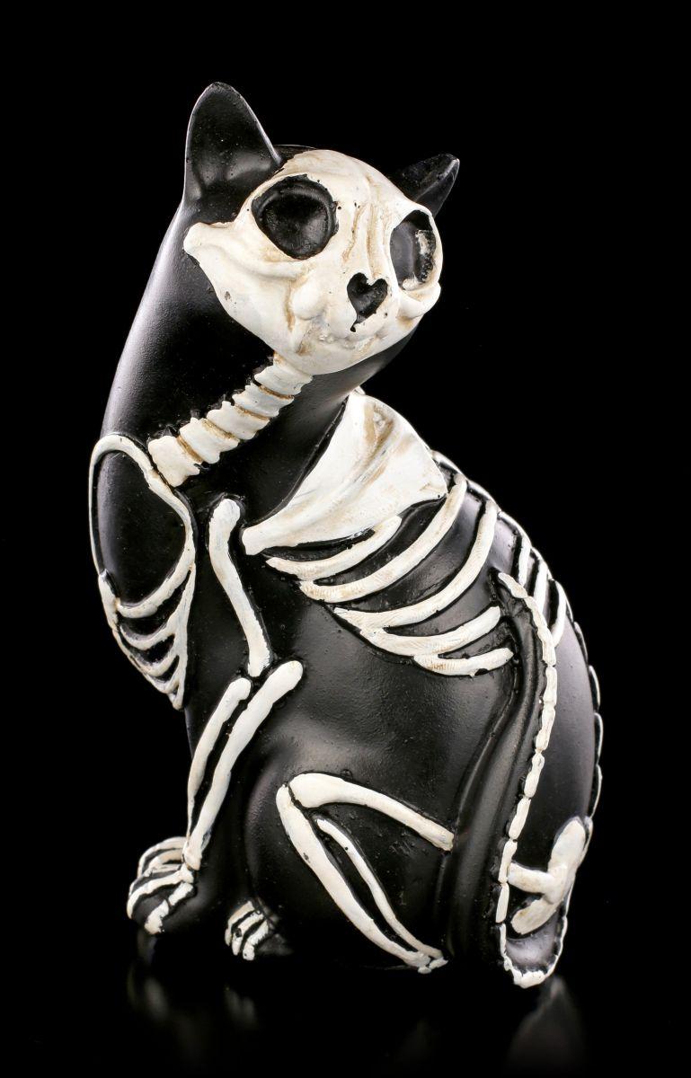 Schwarze Katze Skelett Katzen Figur - Dreht sich um - Gothic ...