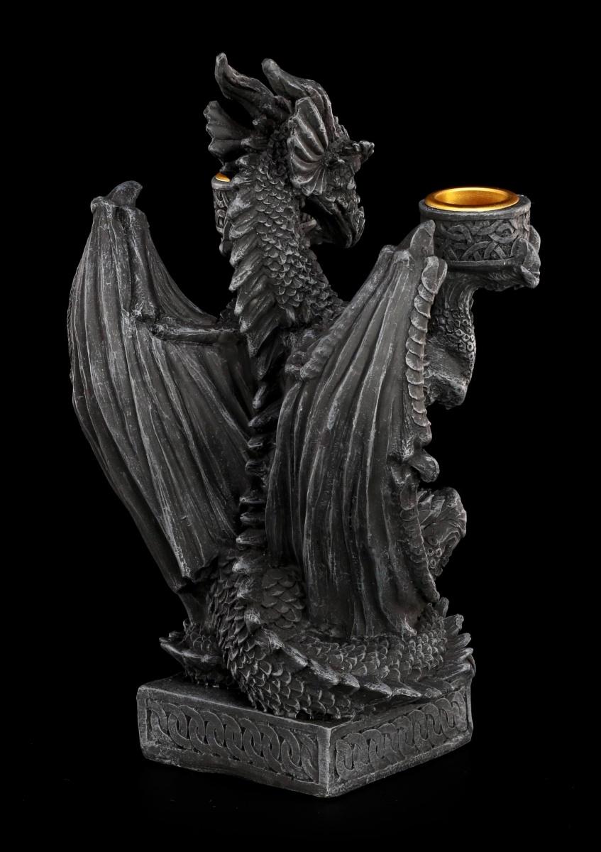 drache als kerzenhalter gothic w chter fantasy deko. Black Bedroom Furniture Sets. Home Design Ideas
