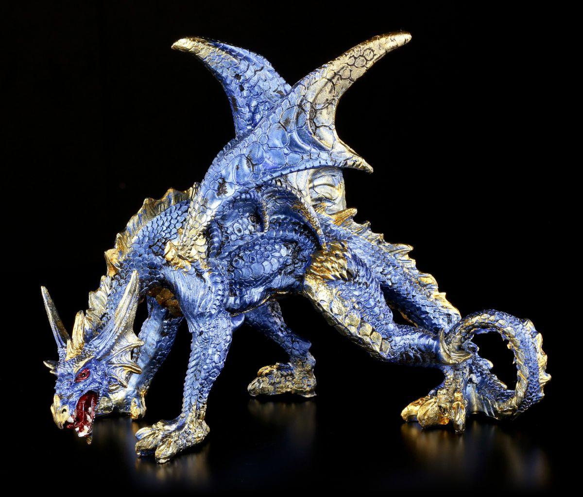 Drachen figur blau cobalt fantasy statue deko ebay for Drachen dekoration