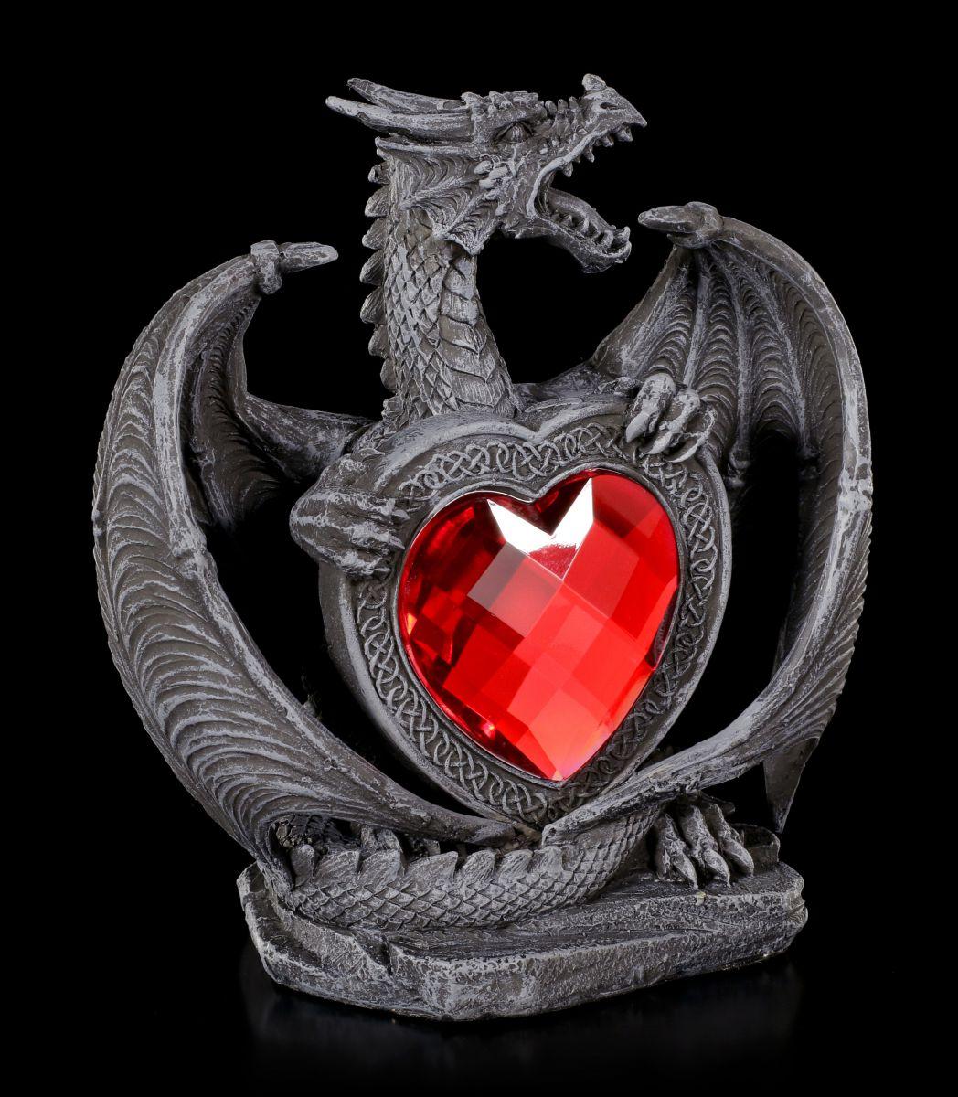 drachen figur excidium mit rotem herz gothic liebe. Black Bedroom Furniture Sets. Home Design Ideas