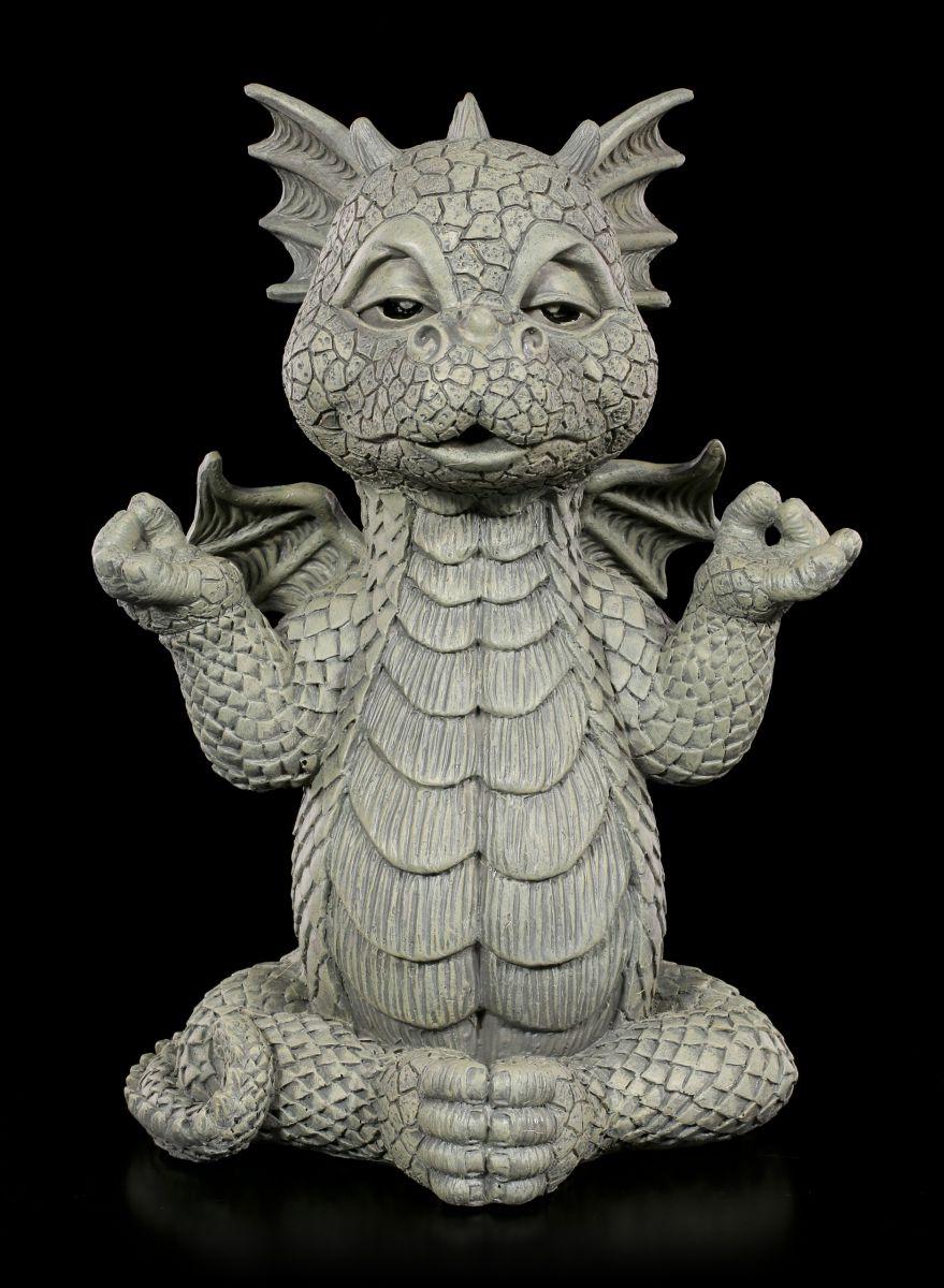 Drachen Gartenfigur Meditation Fantasie Gartendrache Figur