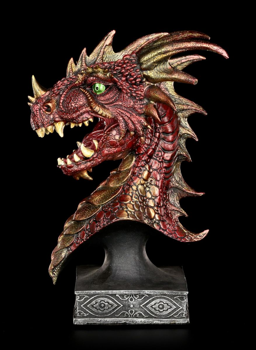 Dragon Head Bust Red Sirath Large Fantasy Statue