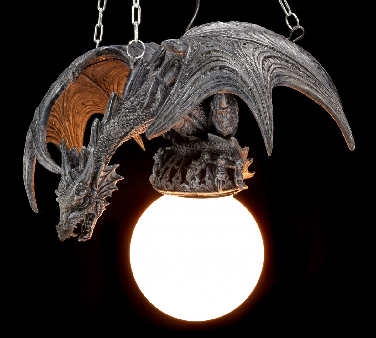 drachenlampe drache im flug lampe deckenlampe gothic figur fantasy ebay. Black Bedroom Furniture Sets. Home Design Ideas