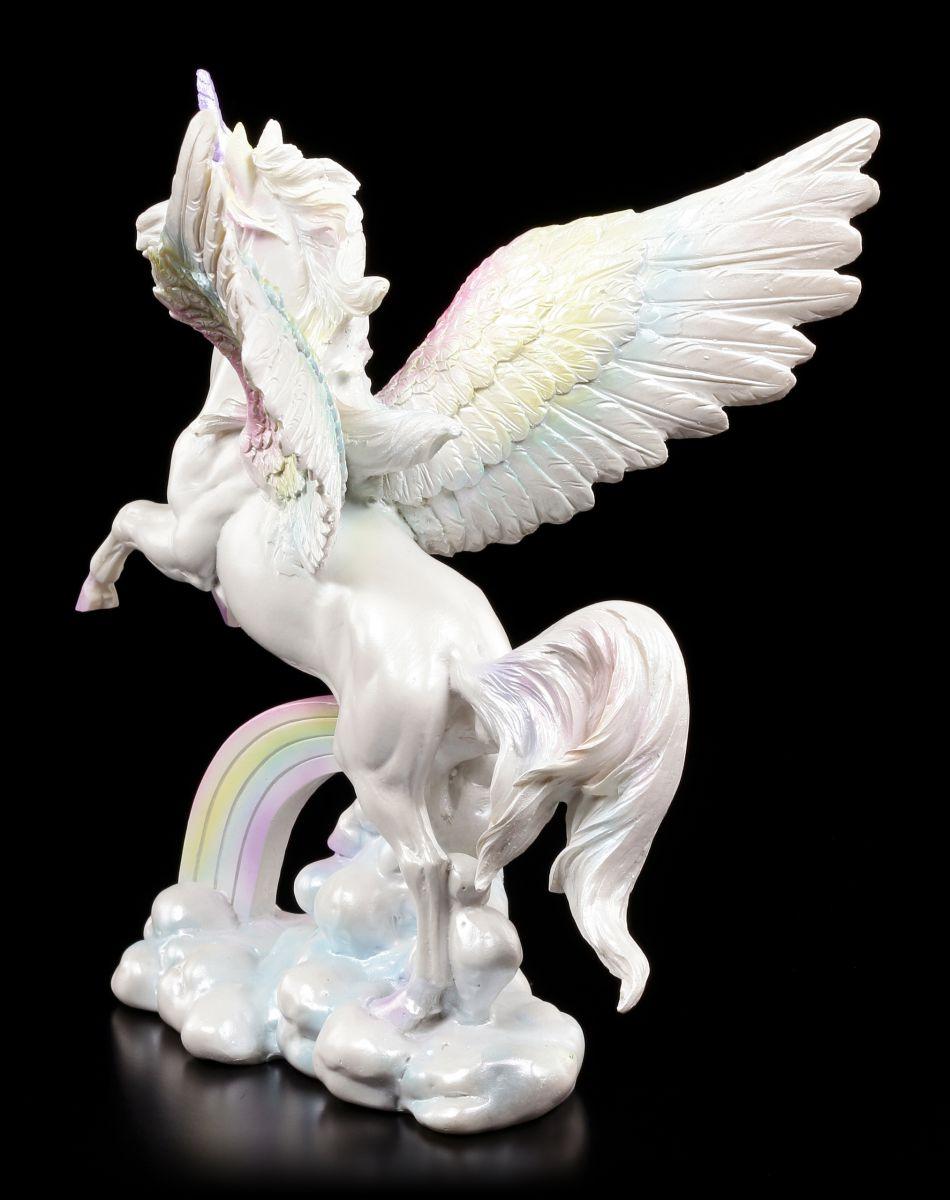 einhorn figur gefl gelt pegasus mit regenbogen auf wolken fantasy deko ebay. Black Bedroom Furniture Sets. Home Design Ideas