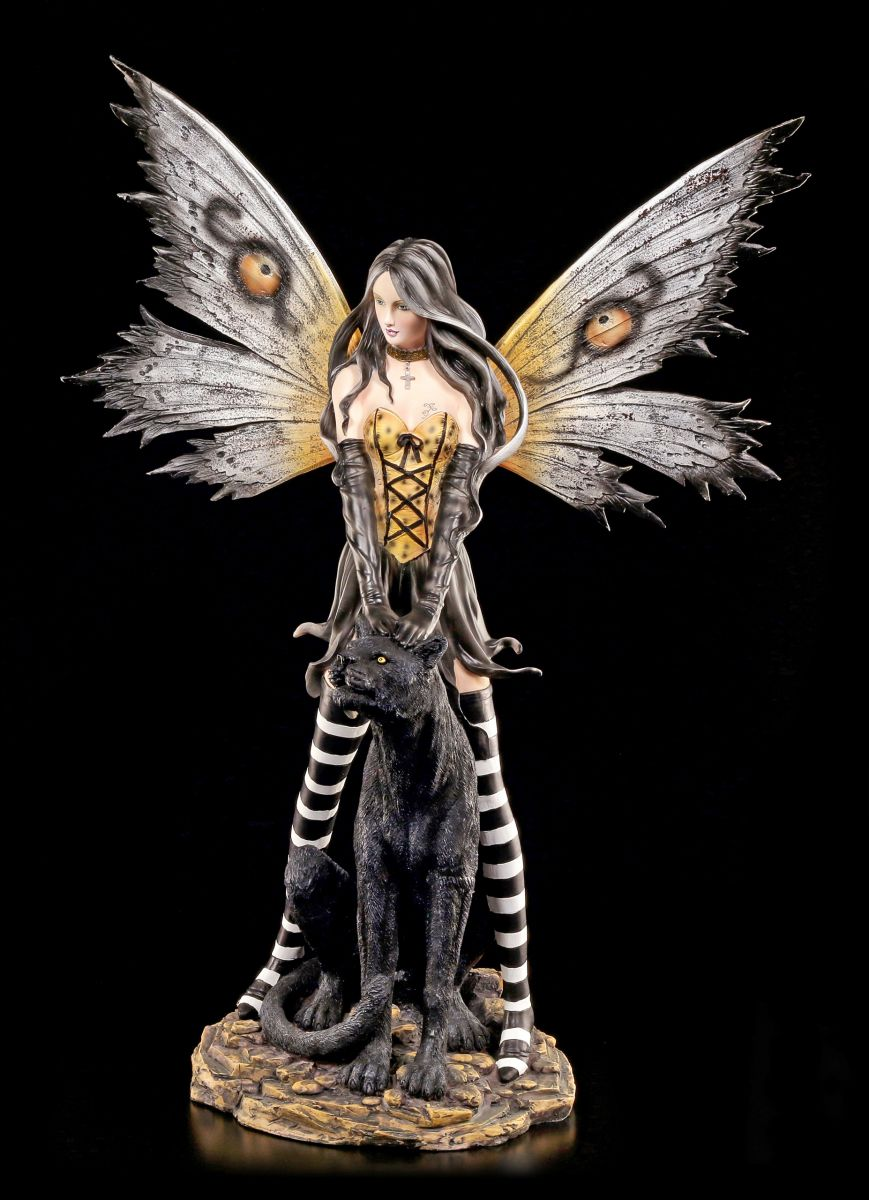 grand figurine elfes noir panth re d co fee statue fairy ebay. Black Bedroom Furniture Sets. Home Design Ideas
