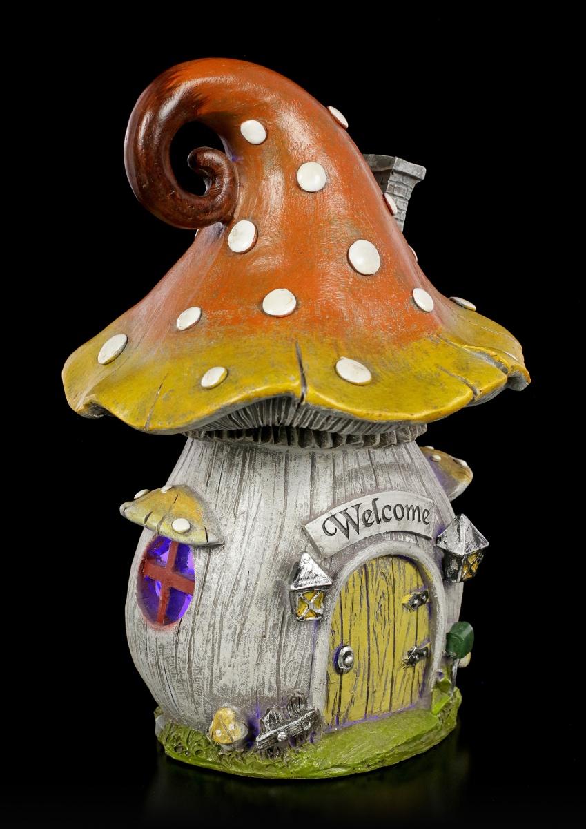 Large Mushroom Elfen Haus mit LED Fantasy Feenhaus Elfenhäuschen Deko