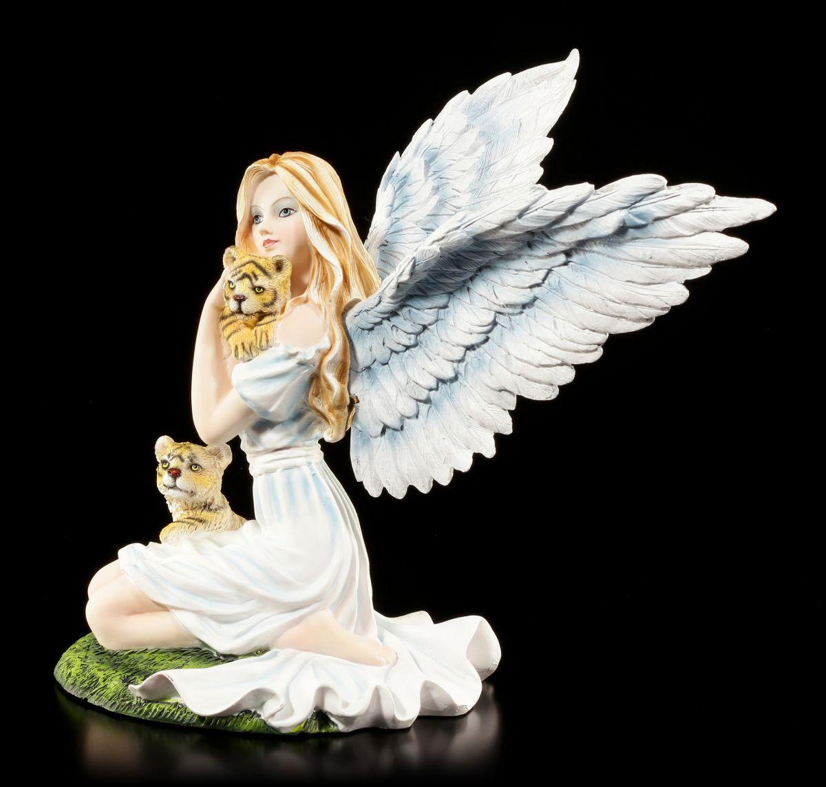 Süße Engel Figur mit Tiger-Babys - Fantasy Fee Elfe Statue