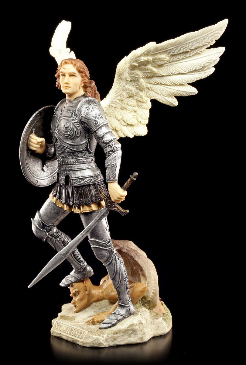 Veronese handbemalt besiegt Teufel Schwert Erzengel Michael Figur bunt