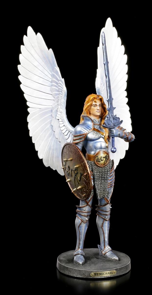 Veronese Engel Fantasy Deko Erzengel Michael Figur mit Schild und Schwert