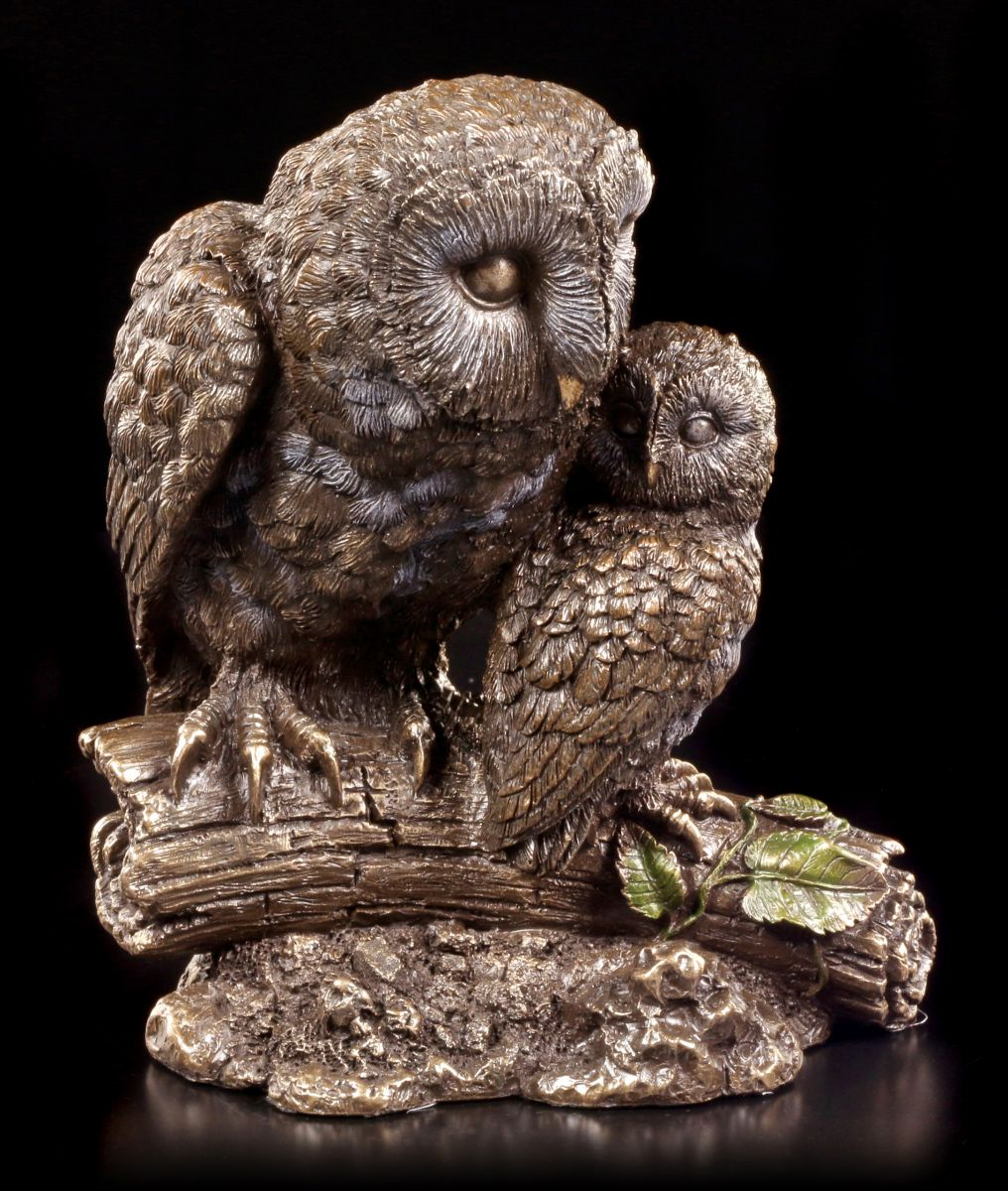 eulen figur mutter kind bronze optik statue deko veronese ebay. Black Bedroom Furniture Sets. Home Design Ideas