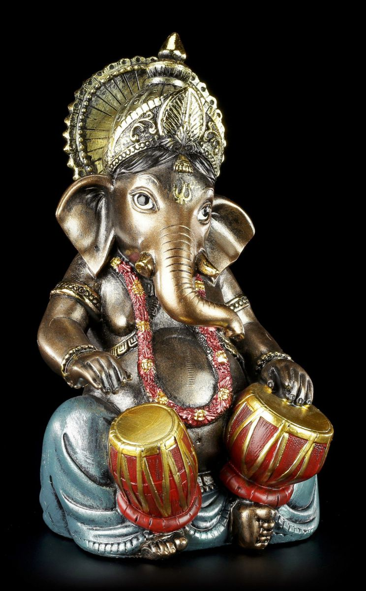 kleine ganesha figur musizierend mit tabla buddha indien statue ebay. Black Bedroom Furniture Sets. Home Design Ideas