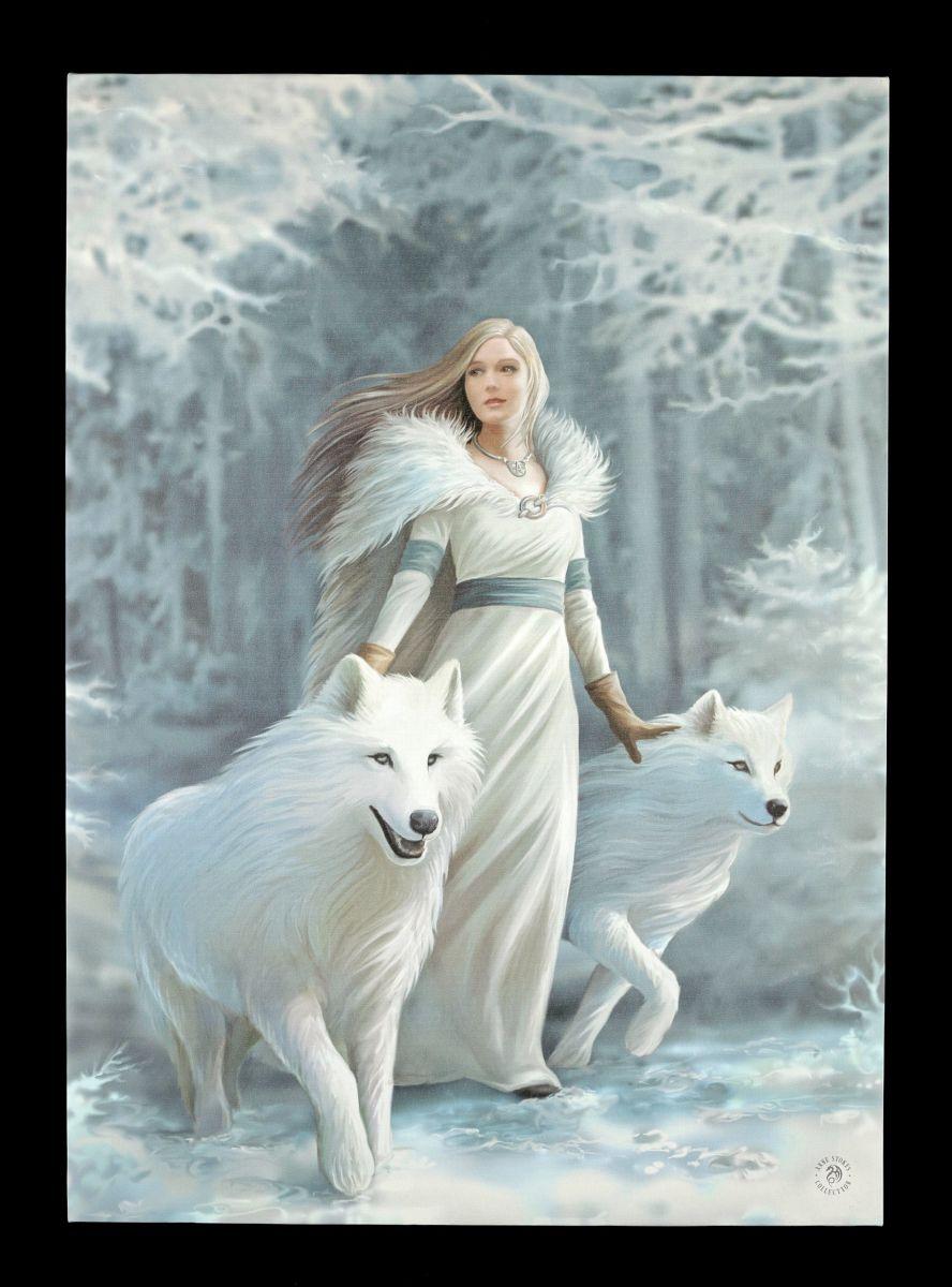 gro e leinwand mit w lfen winter guardians anne stokes bild druck fantasy ebay. Black Bedroom Furniture Sets. Home Design Ideas