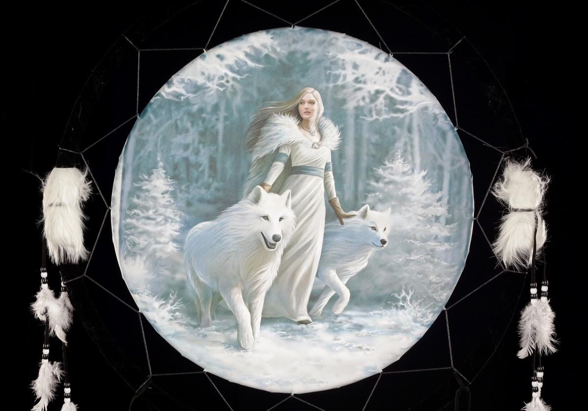 gro er traumf nger 60 cm mit wolf winter guardians by anne stokes fantasy ebay. Black Bedroom Furniture Sets. Home Design Ideas