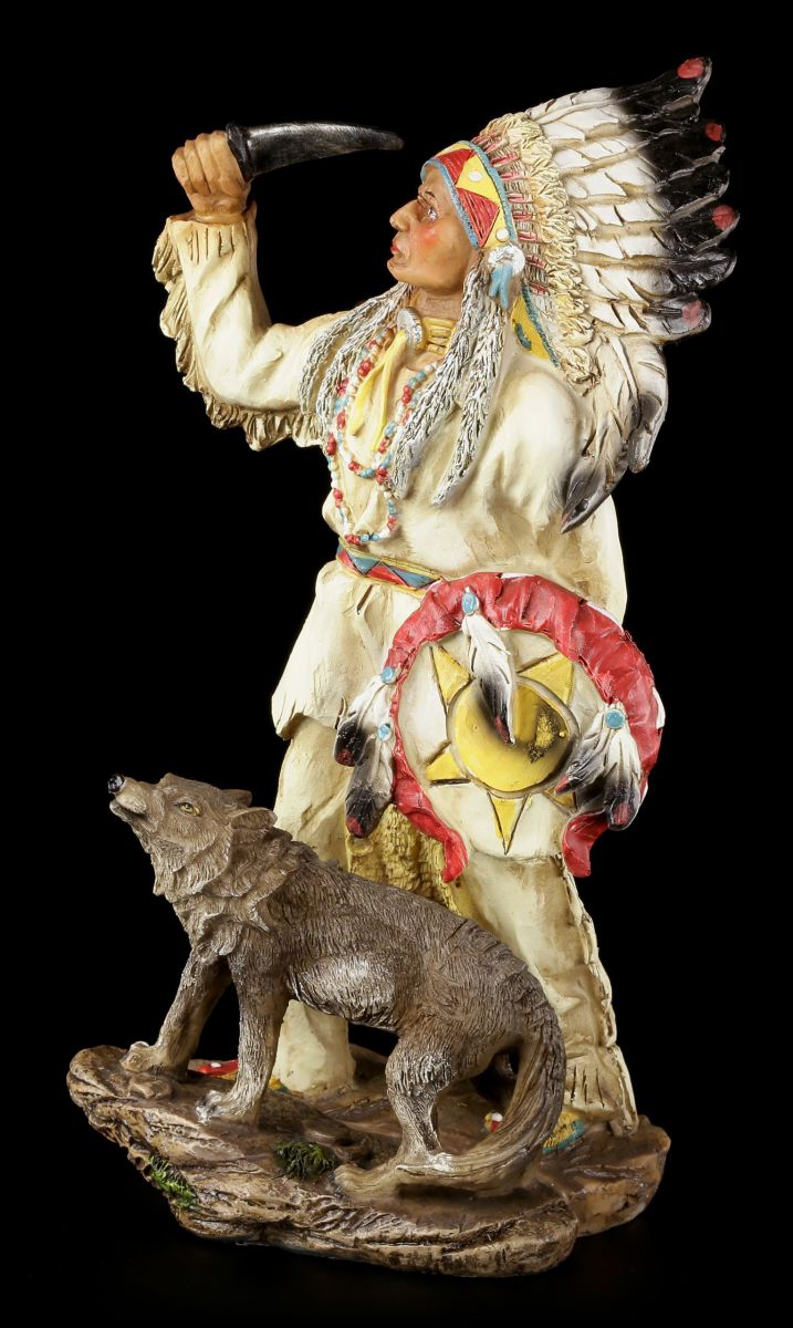 indianer figur 29 5 cm h uptling mit wolf western deko ebay. Black Bedroom Furniture Sets. Home Design Ideas