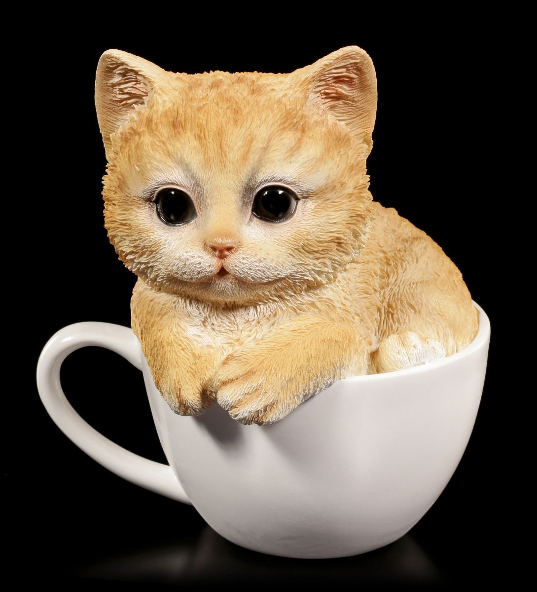 s e katzen figur gelbes k tzchen in tasse baby kitten deko ebay. Black Bedroom Furniture Sets. Home Design Ideas