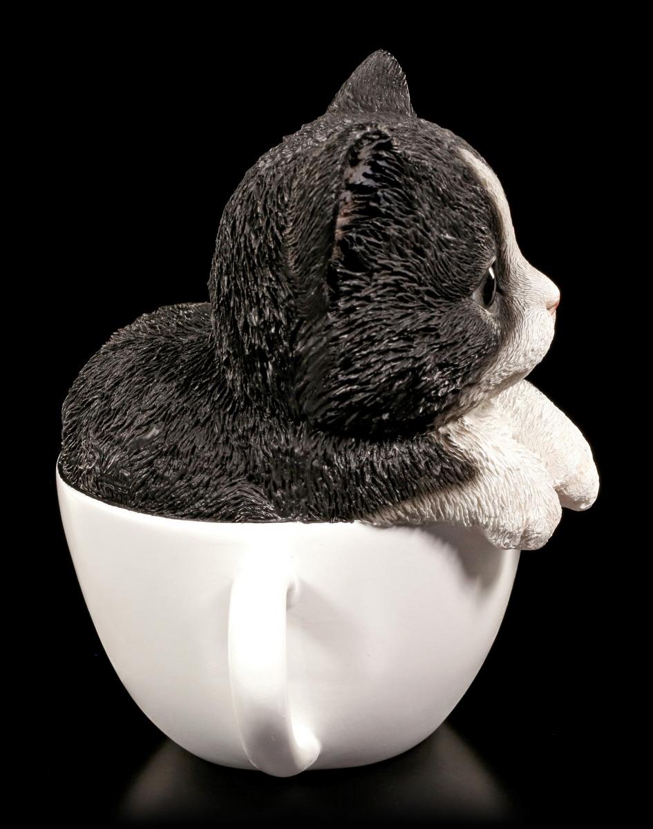 katzen figur schwarz wei es k tzchen in tasse deko kitten ebay. Black Bedroom Furniture Sets. Home Design Ideas