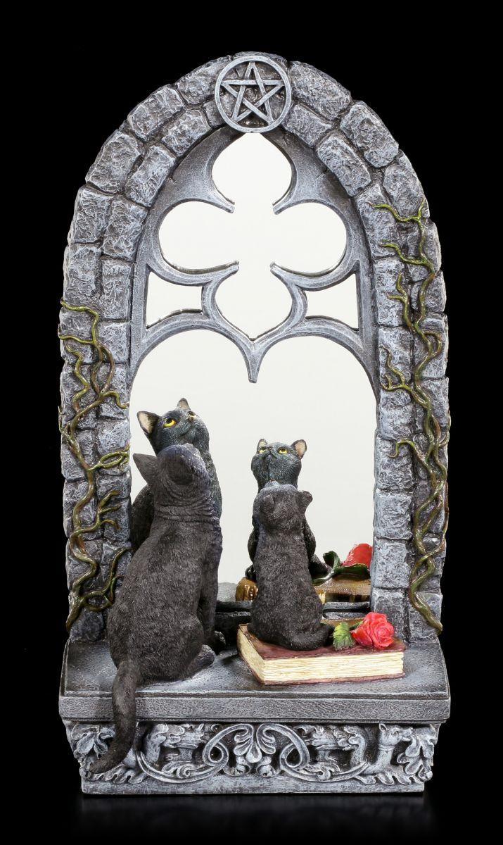 Veronese schwarze Kätzchen Deko Familiar Reflection Katzen Figur mit Spiegel