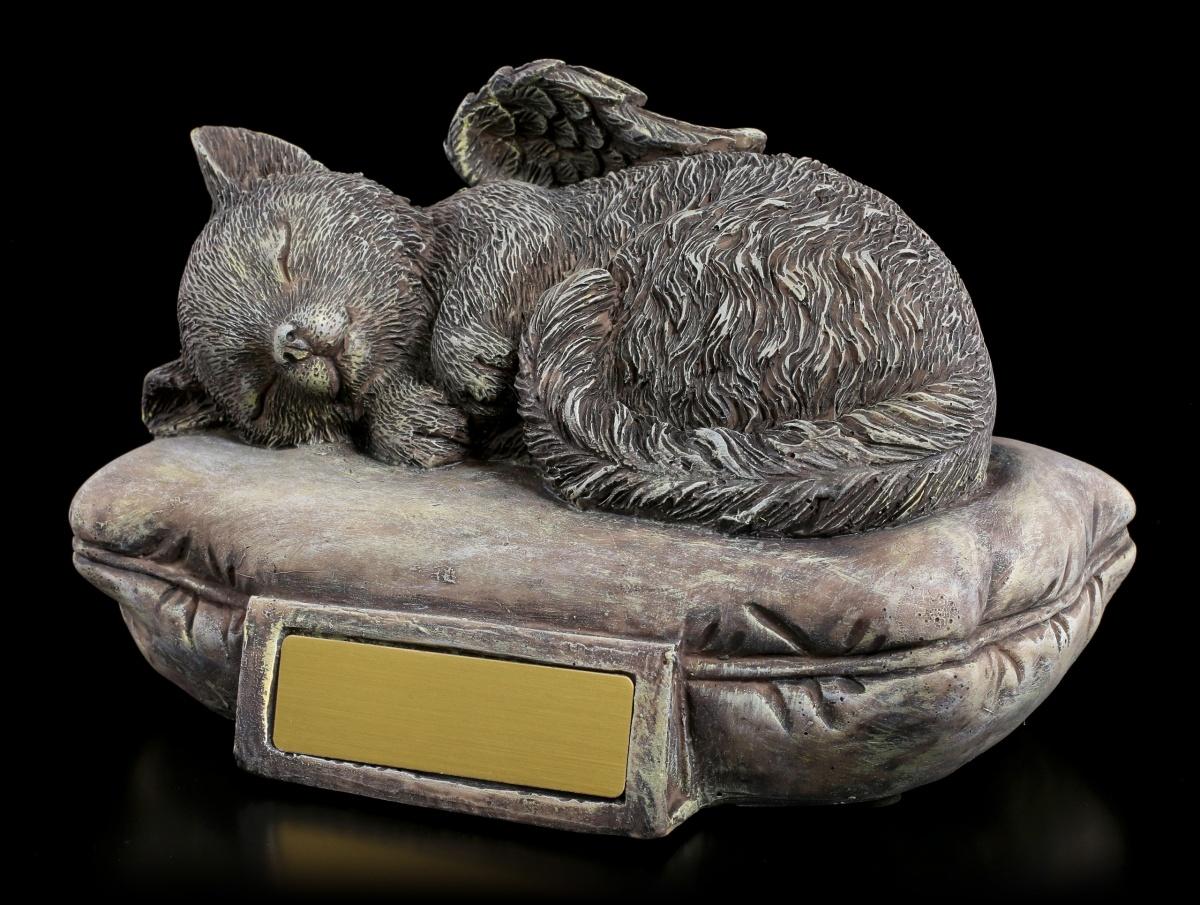 tier urne katzen engel mit gravurplatte in steinoptik edle katzenurne deko ebay. Black Bedroom Furniture Sets. Home Design Ideas