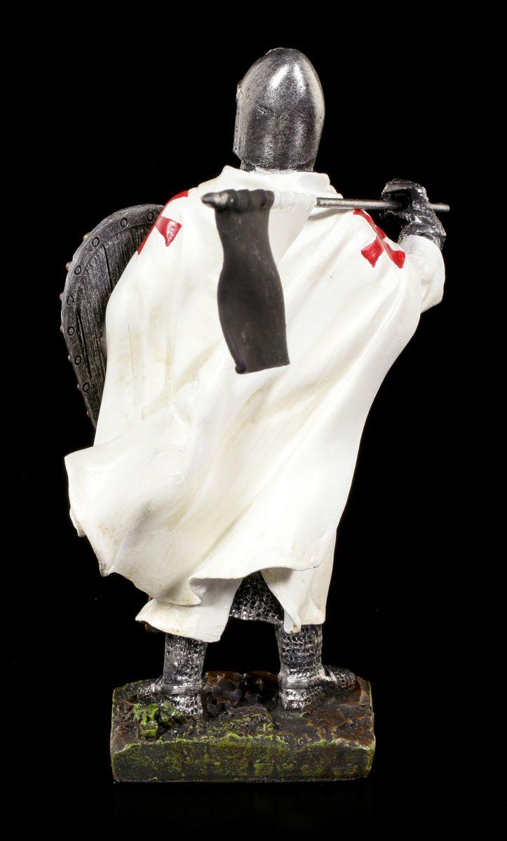 Details zu Kreuzritter Figur mit Schild und Fahne Tempelritter Templer Ritter Statue