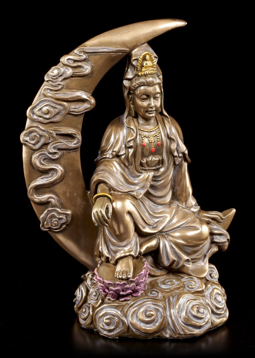 Buddha figur kuan yin halbmond mond deko statue for Buddha figur