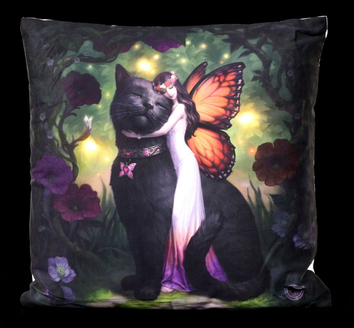 kissen mit katze und elfe cat fairy led beleuchtung zierkissen fantasy 801269118471 ebay. Black Bedroom Furniture Sets. Home Design Ideas