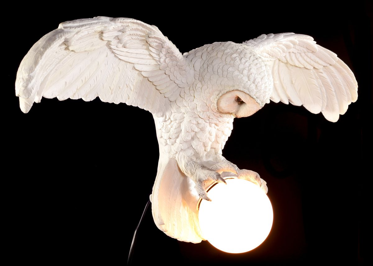 wandlampe wei e eule weisheit erhebt sich figur lampe schneeeule hexe magie ebay. Black Bedroom Furniture Sets. Home Design Ideas
