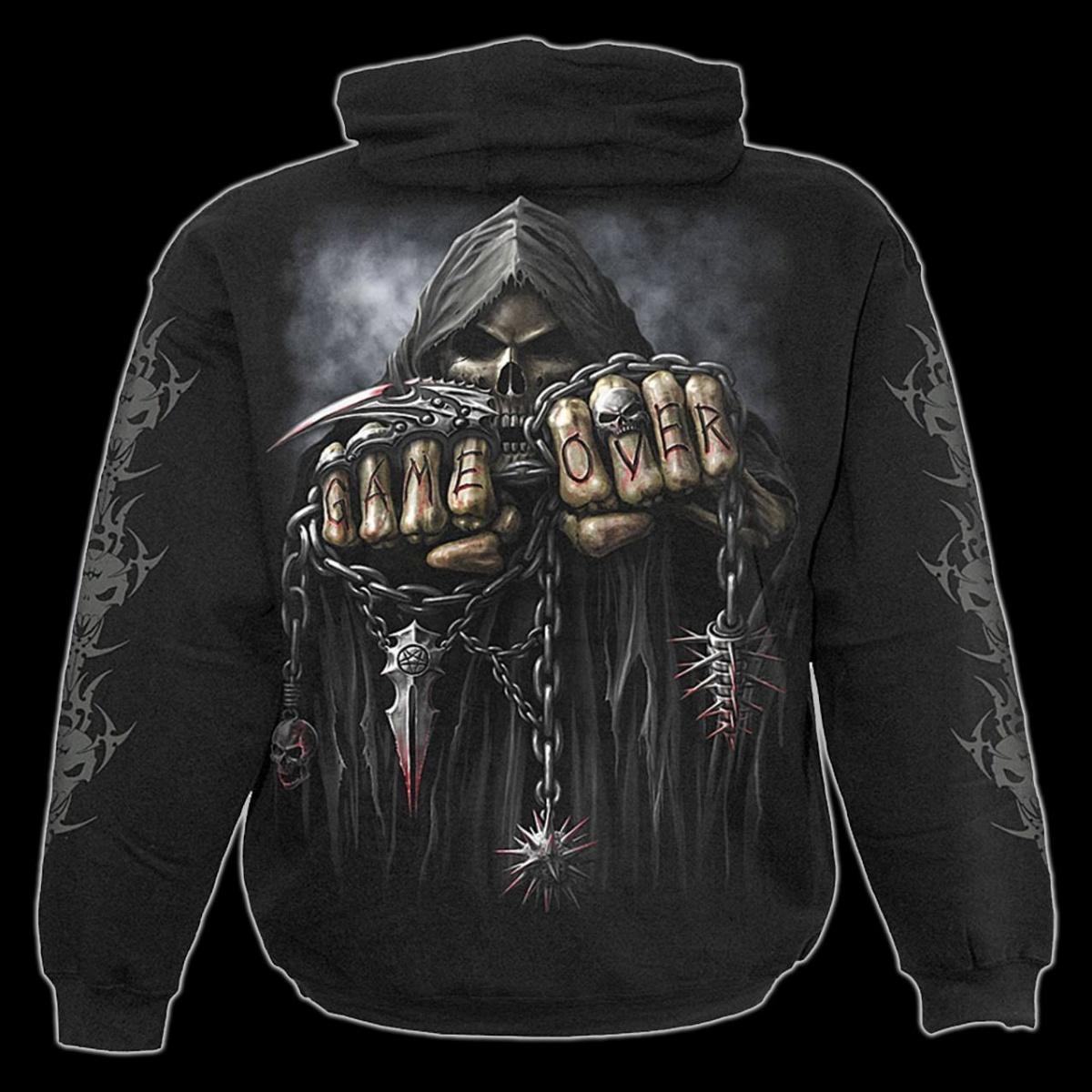 Details zu Kapuzenpulli Skelett Reaper Game Over Spiral Herren Hoodie