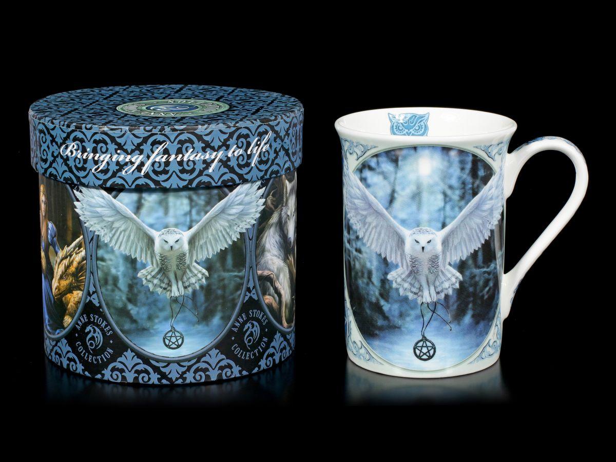 Anne Stokes Teebecher Kaffeetasse Porzellan Tasse mit Eule Awaken your Magic