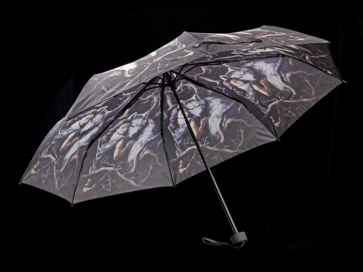 Soul Bond Anne Stokes Fantasy Schirm Accessoire Regenschirm mit Wolf