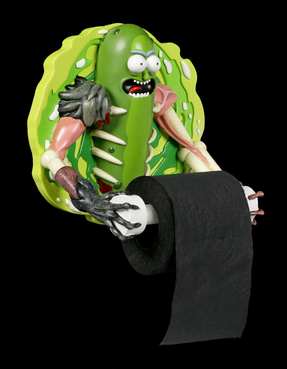 Gurken Rick Toilettenpapierhalter Figur Deko Pickle Rick WC Rick and Morty