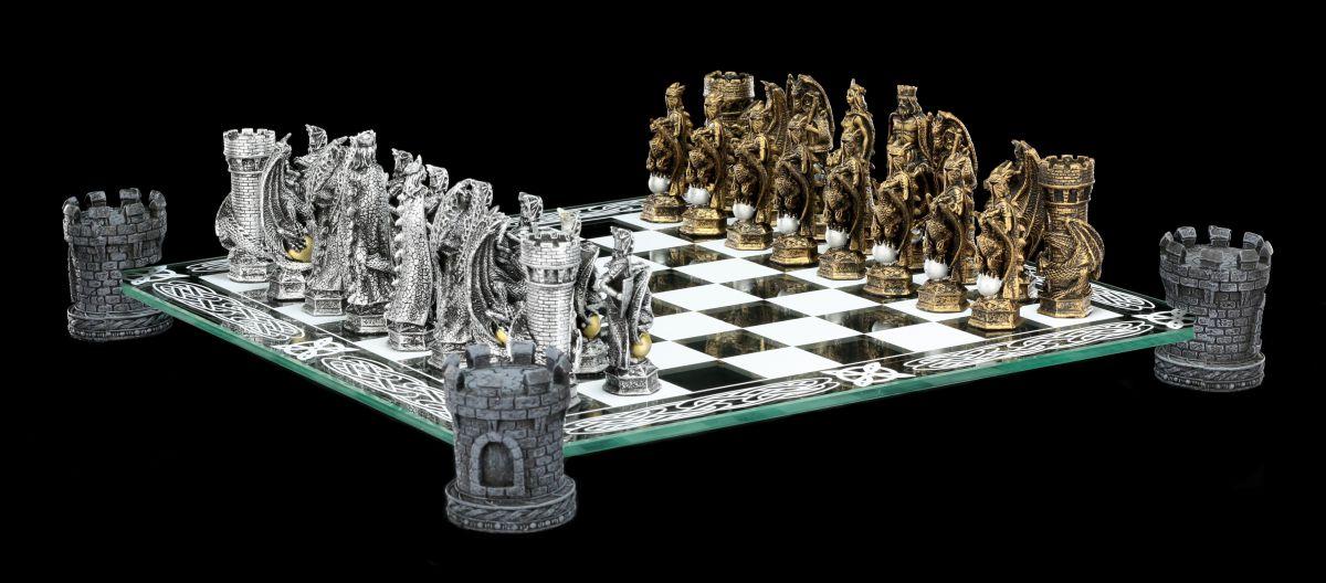 Drachen und Ritter Schachspiel auf Burgtürmen Schachfiguren Set Glasbrett