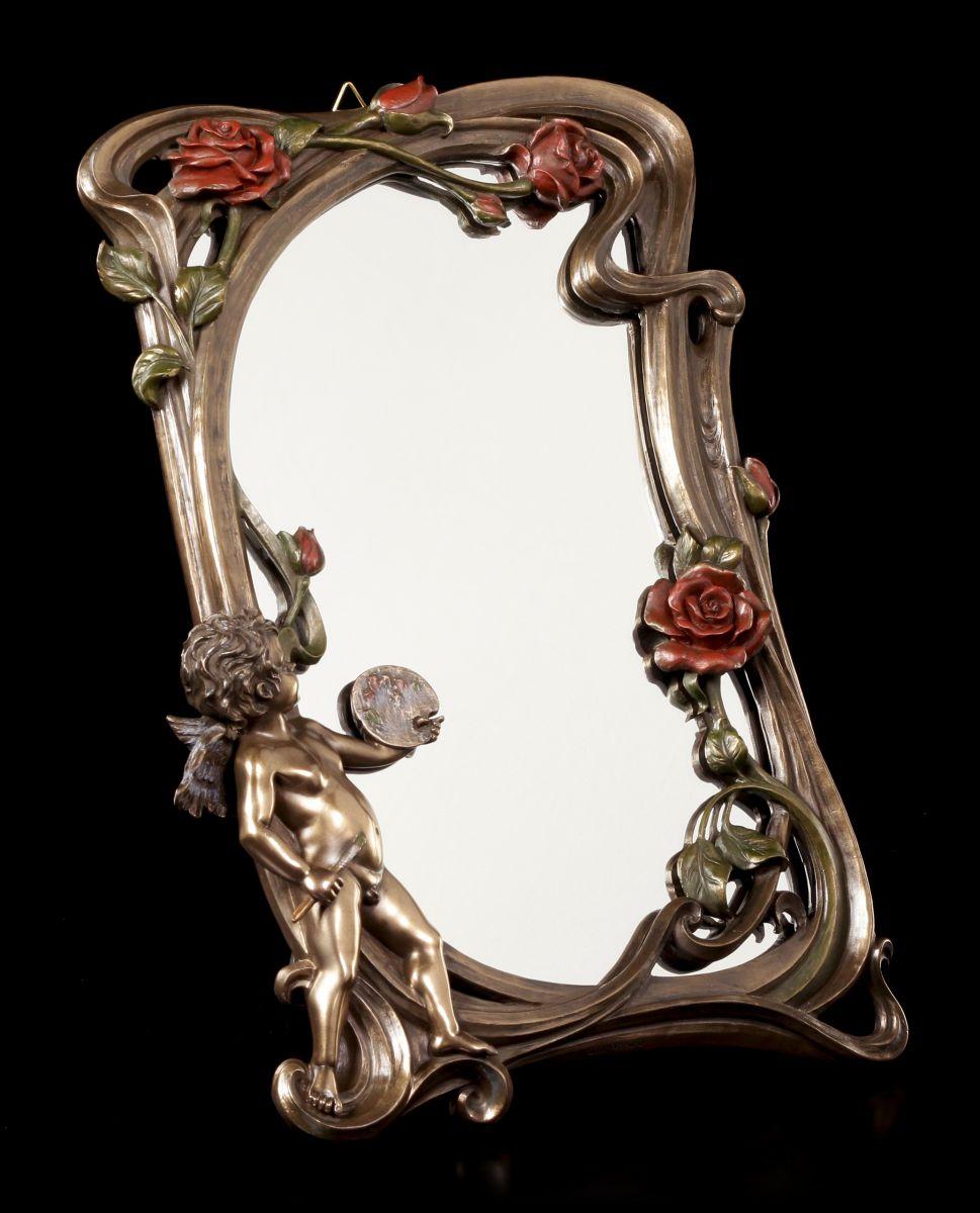 art nouveau miroir petit ange veronese ch rubins miroir de table d co ebay. Black Bedroom Furniture Sets. Home Design Ideas