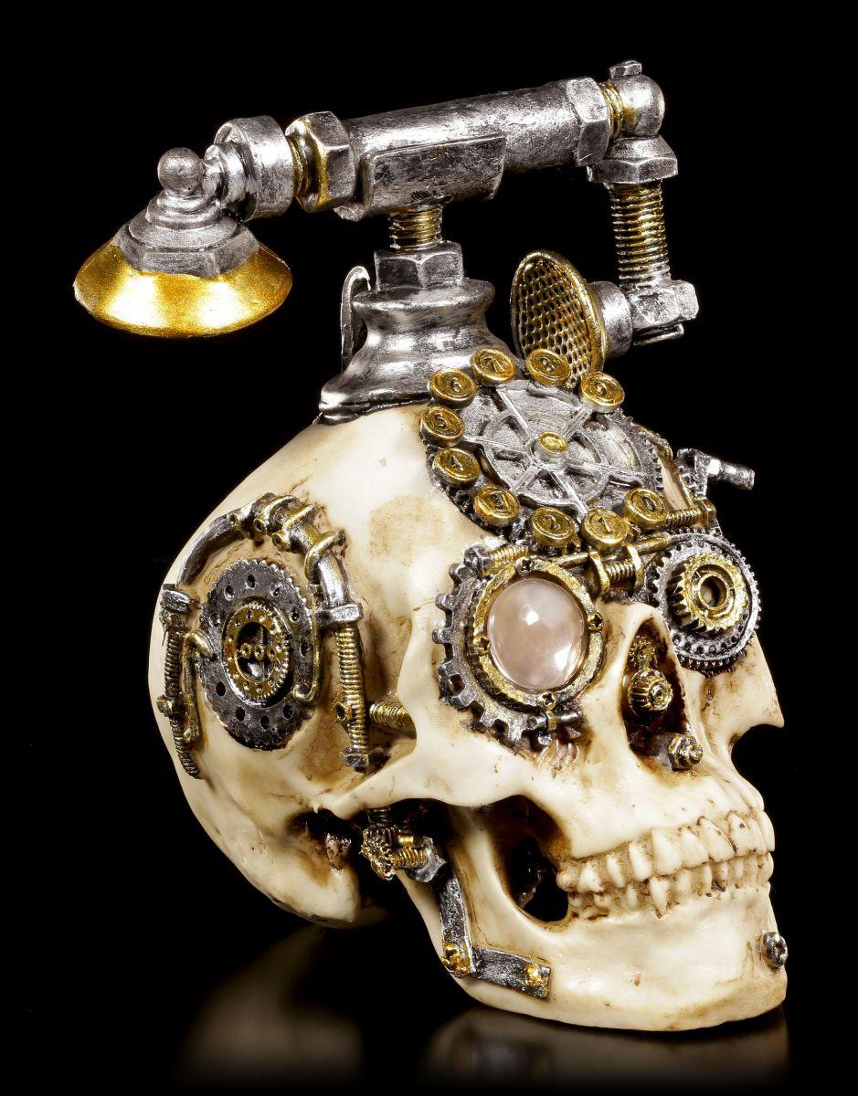 steampunk totenkopf telefon dead ringer deko figur sch del skull ebay. Black Bedroom Furniture Sets. Home Design Ideas