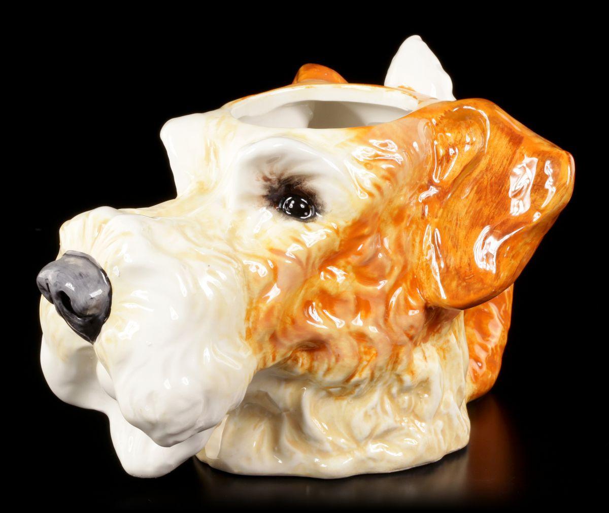 tasse hund keramik drahthaar foxterrier tierkopf spa fun lustig 4260504533138 ebay. Black Bedroom Furniture Sets. Home Design Ideas