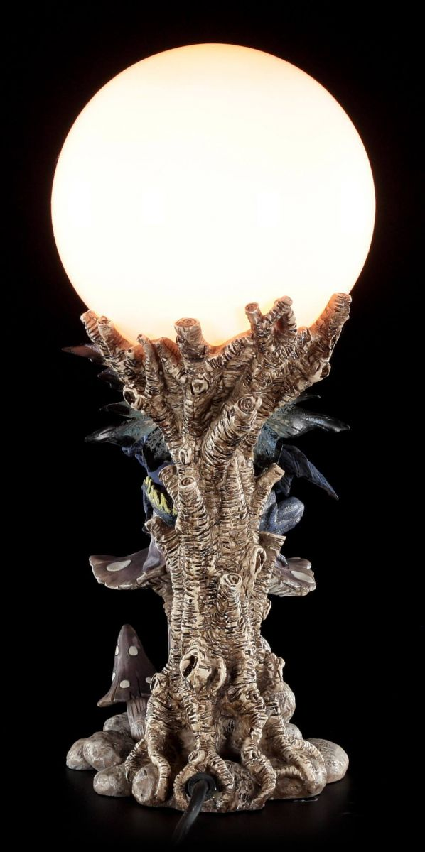 elfen tischlampe indis mit drachenbaby auf pilz fee figur lampe nachtlicht ebay. Black Bedroom Furniture Sets. Home Design Ideas